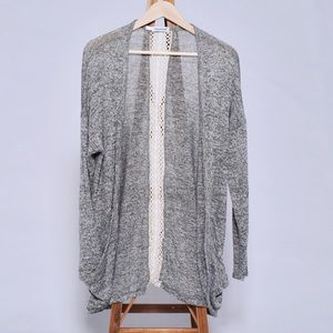 maurice's grey cardigan with lace